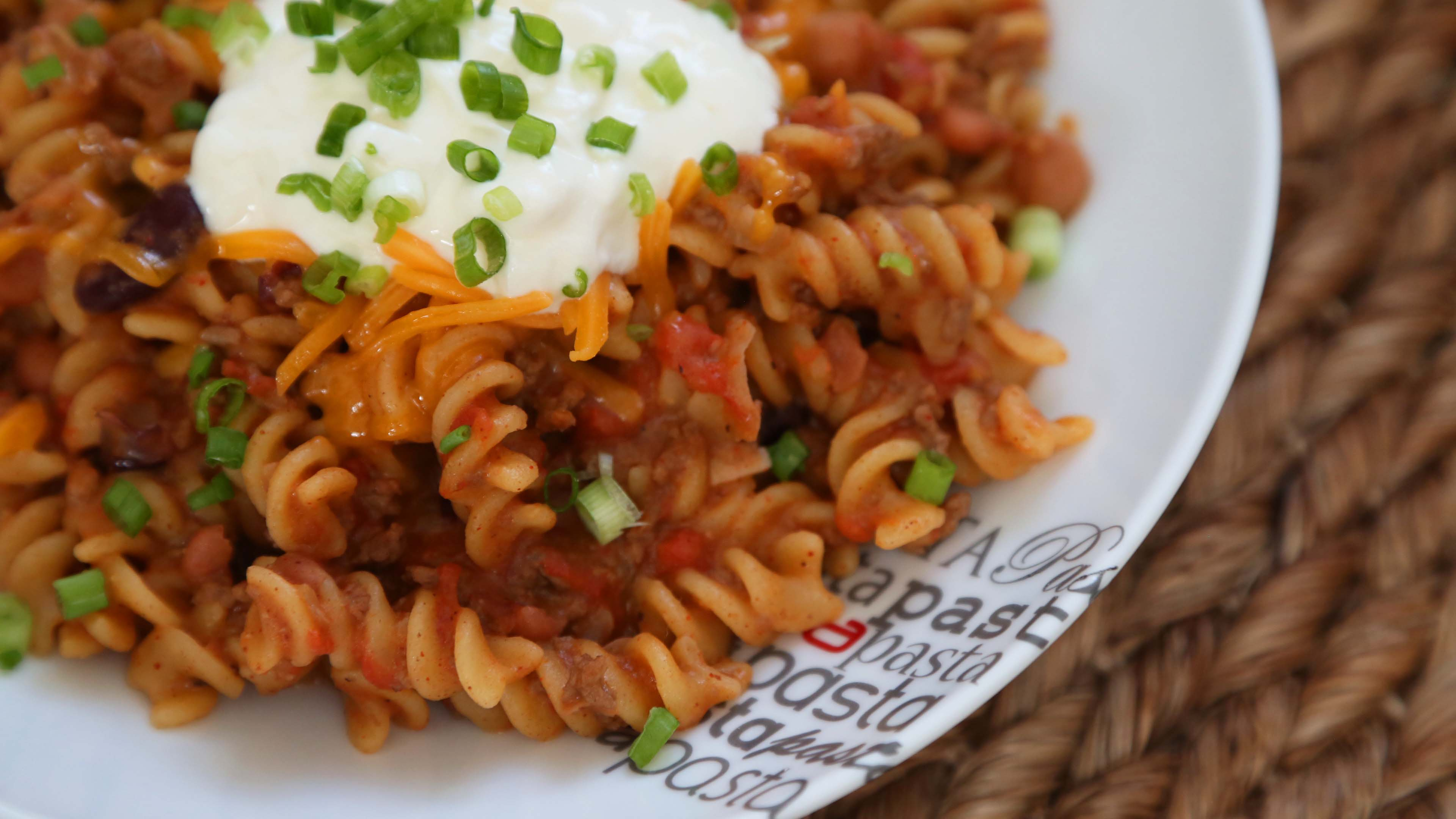 One Pot Chili Cheese Pasta Recipe The Domestic Geek